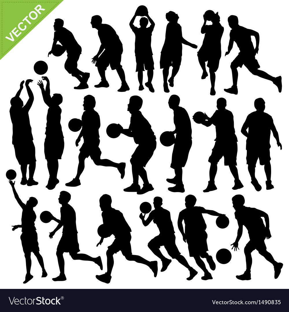 Men play basketball silhouettes vector | Price: 1 Credit (USD $1)