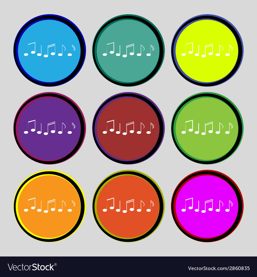 Music note sign icon musical symbol set colourful vector | Price: 1 Credit (USD $1)