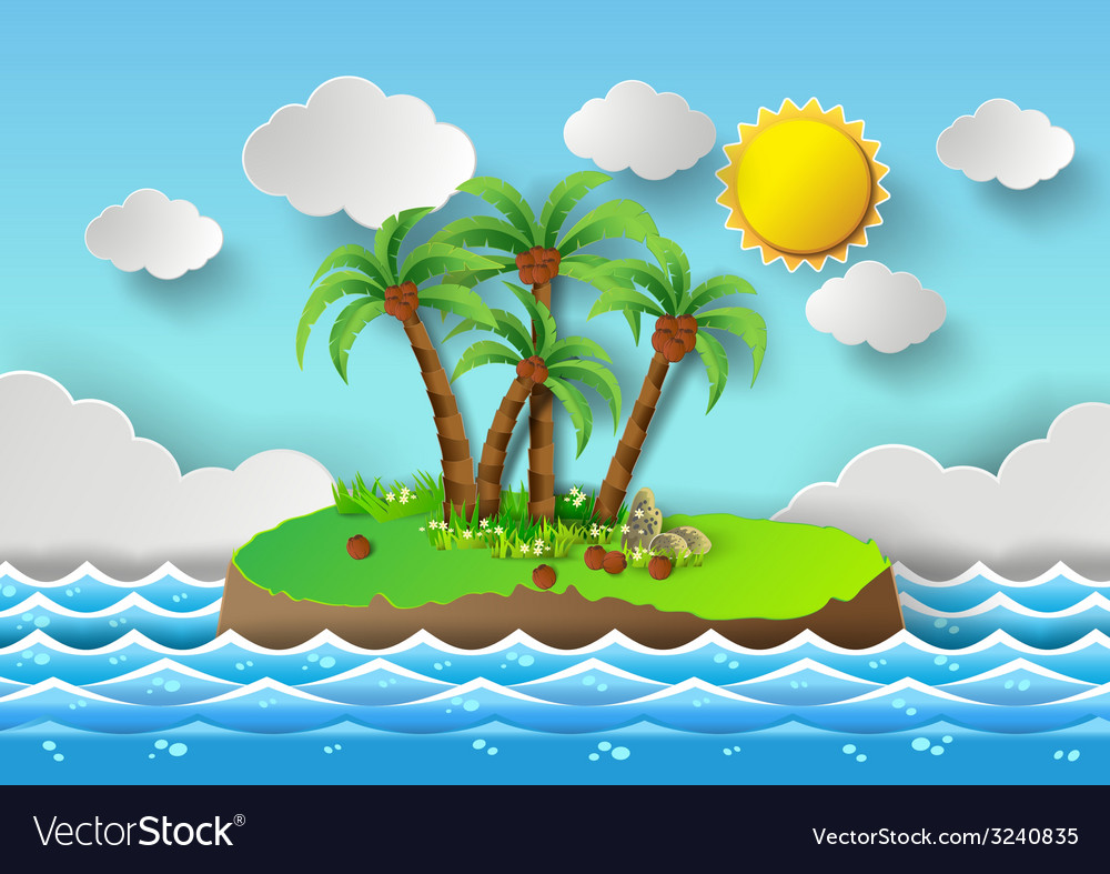 Palm with island vector | Price: 3 Credit (USD $3)