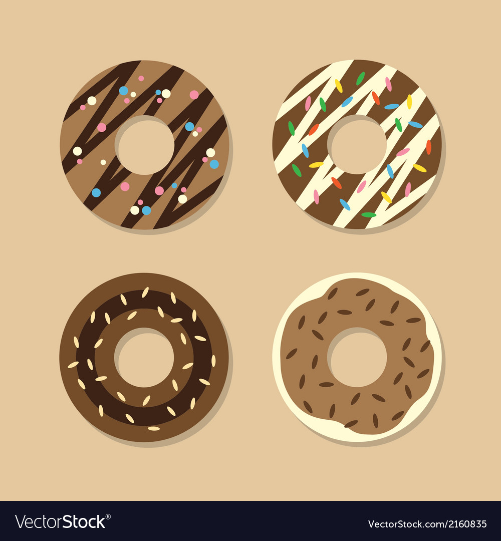 Set of chocolate donuts vector | Price: 1 Credit (USD $1)