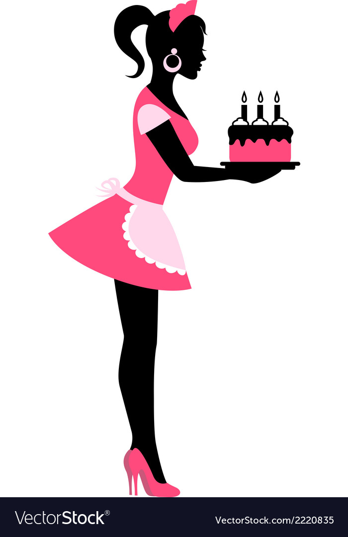 Silhouette of a woman holding a cake with candles vector | Price: 1 Credit (USD $1)