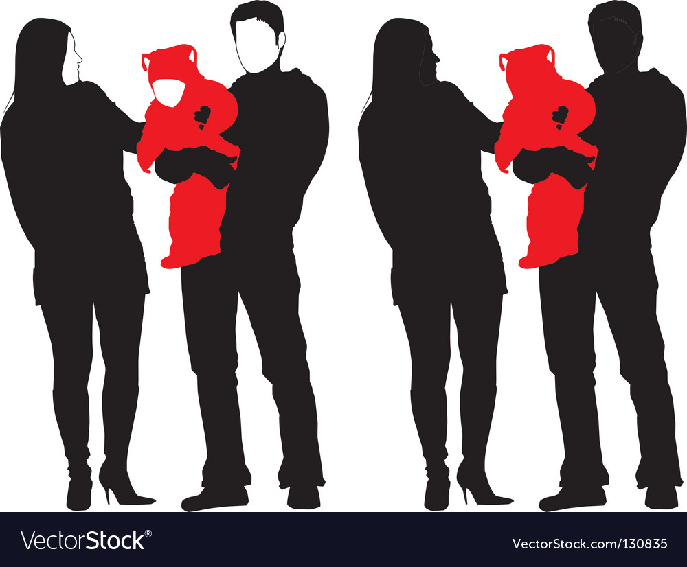 Silhouette of new happy family vector | Price: 1 Credit (USD $1)