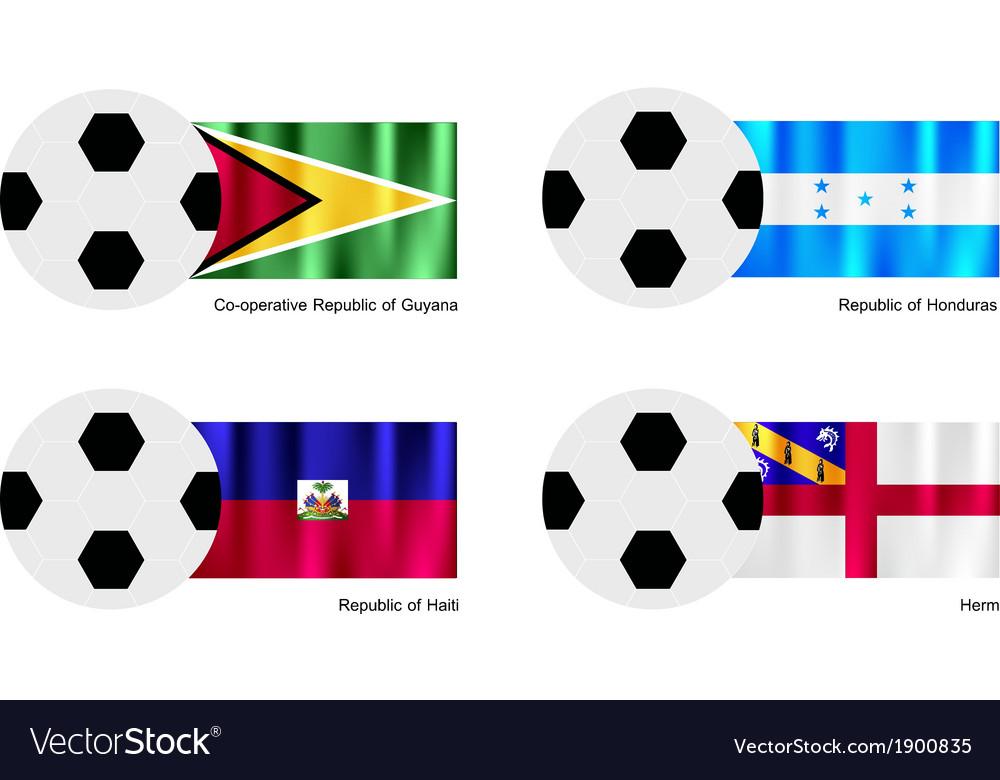 Soccer ball with guyana honduras haiti and herm vector | Price: 1 Credit (USD $1)
