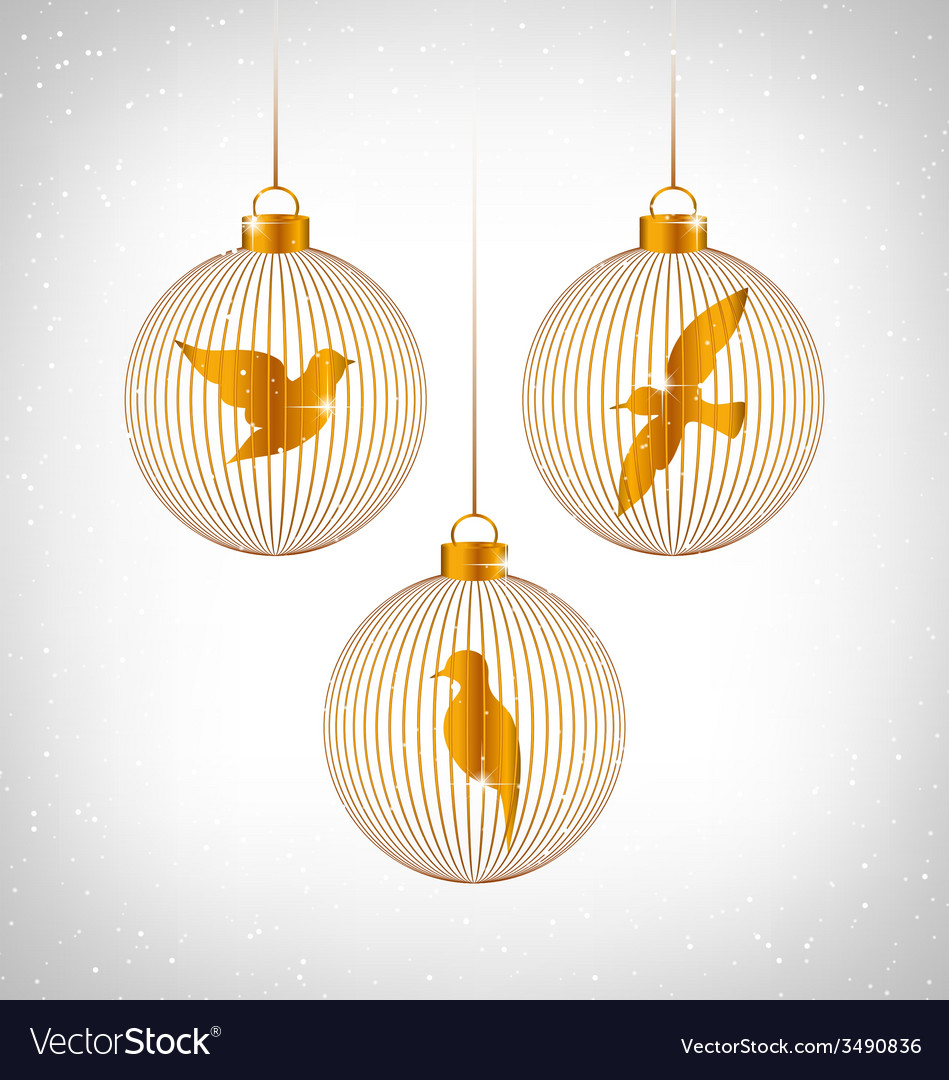 Birds in christmas balls on grayscale vector | Price: 1 Credit (USD $1)