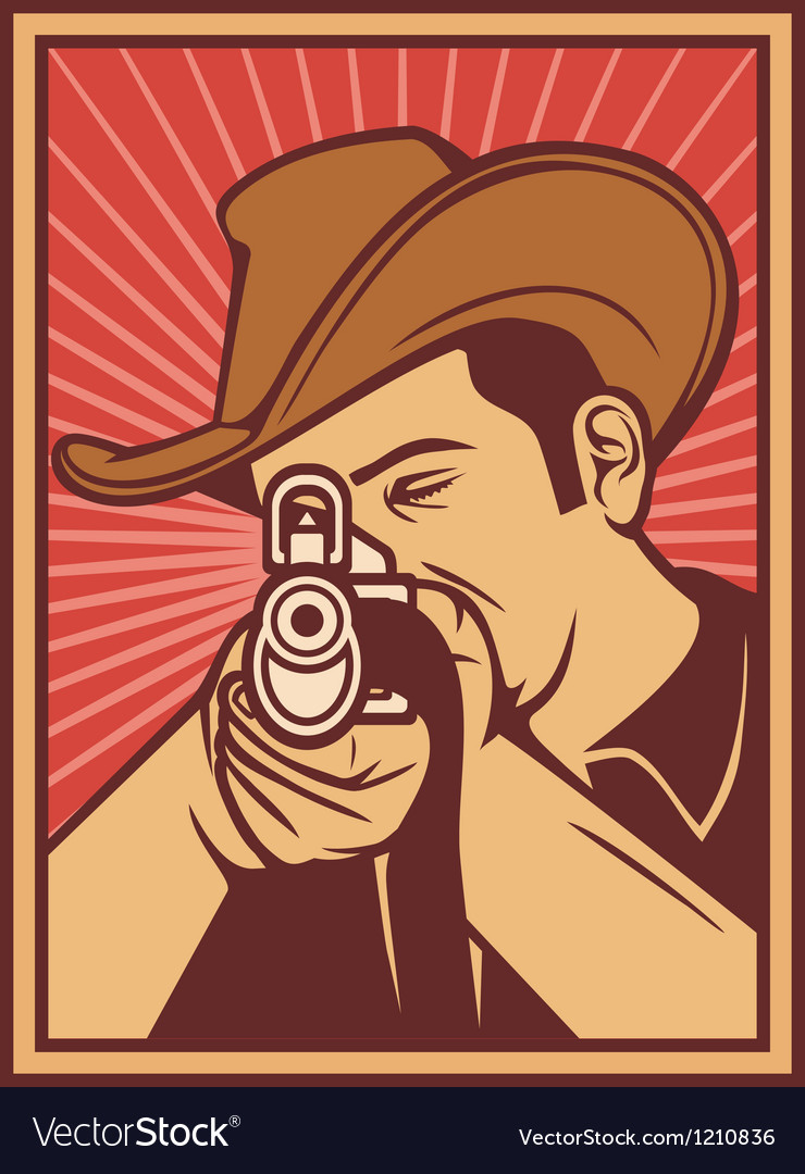 Cowboy shooting a rifle vector | Price: 3 Credit (USD $3)