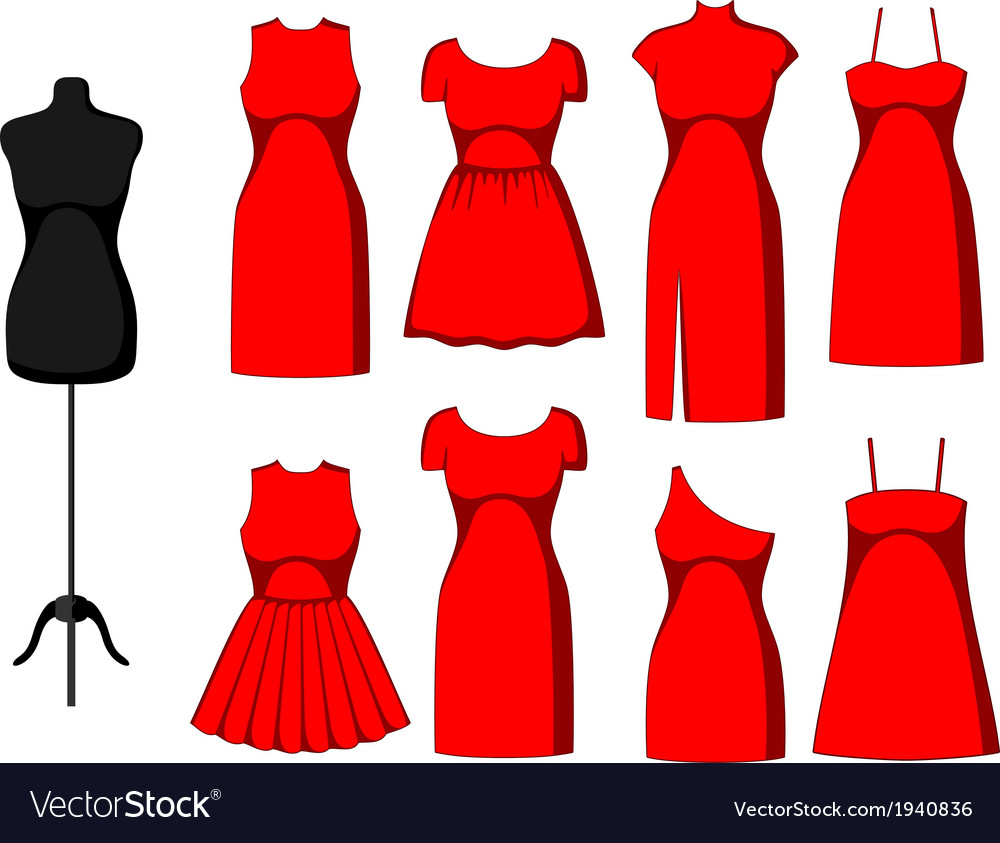 Different cocktail and evening dresses vector | Price: 1 Credit (USD $1)