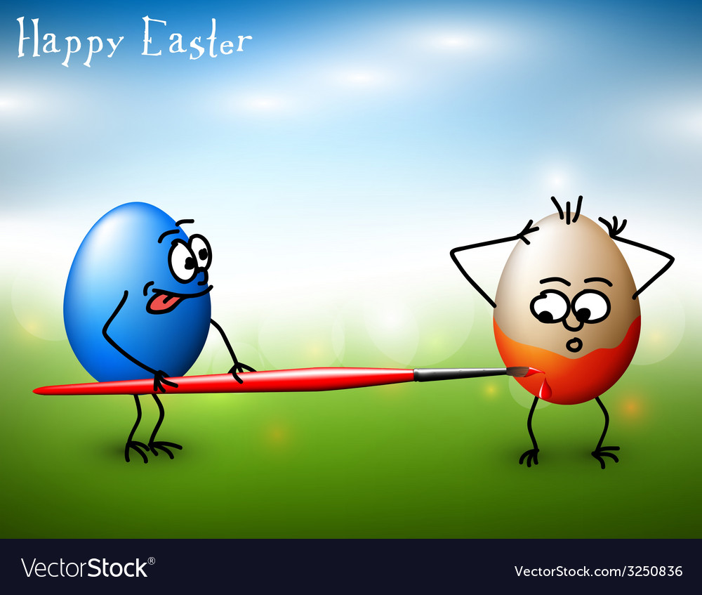 Funny easter eggs - happy easter card vector | Price: 1 Credit (USD $1)
