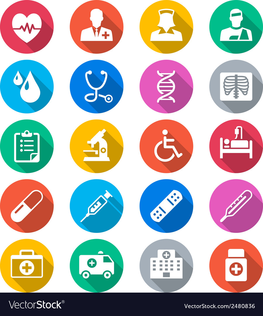 Healthcare flat color icons vector | Price: 1 Credit (USD $1)