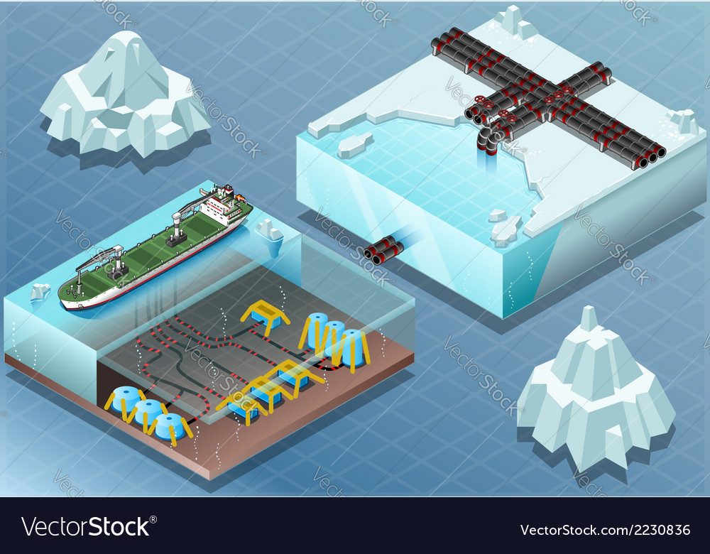 Isometric arctic subsea farm and tubes vector | Price: 1 Credit (USD $1)