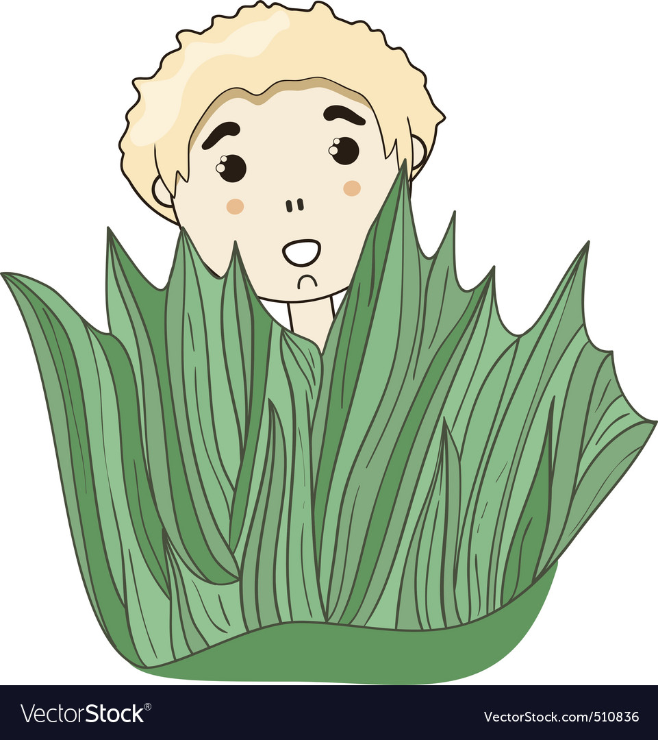 little boy hiding behind the grass vector | Price: 1 Credit (USD $1)