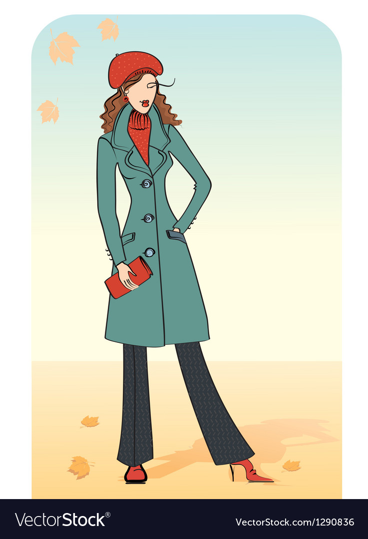 Nice woman in a warm coat vector | Price: 1 Credit (USD $1)