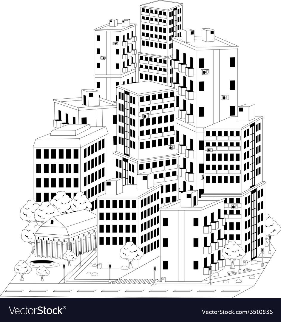 Residential quarter vector | Price: 1 Credit (USD $1)
