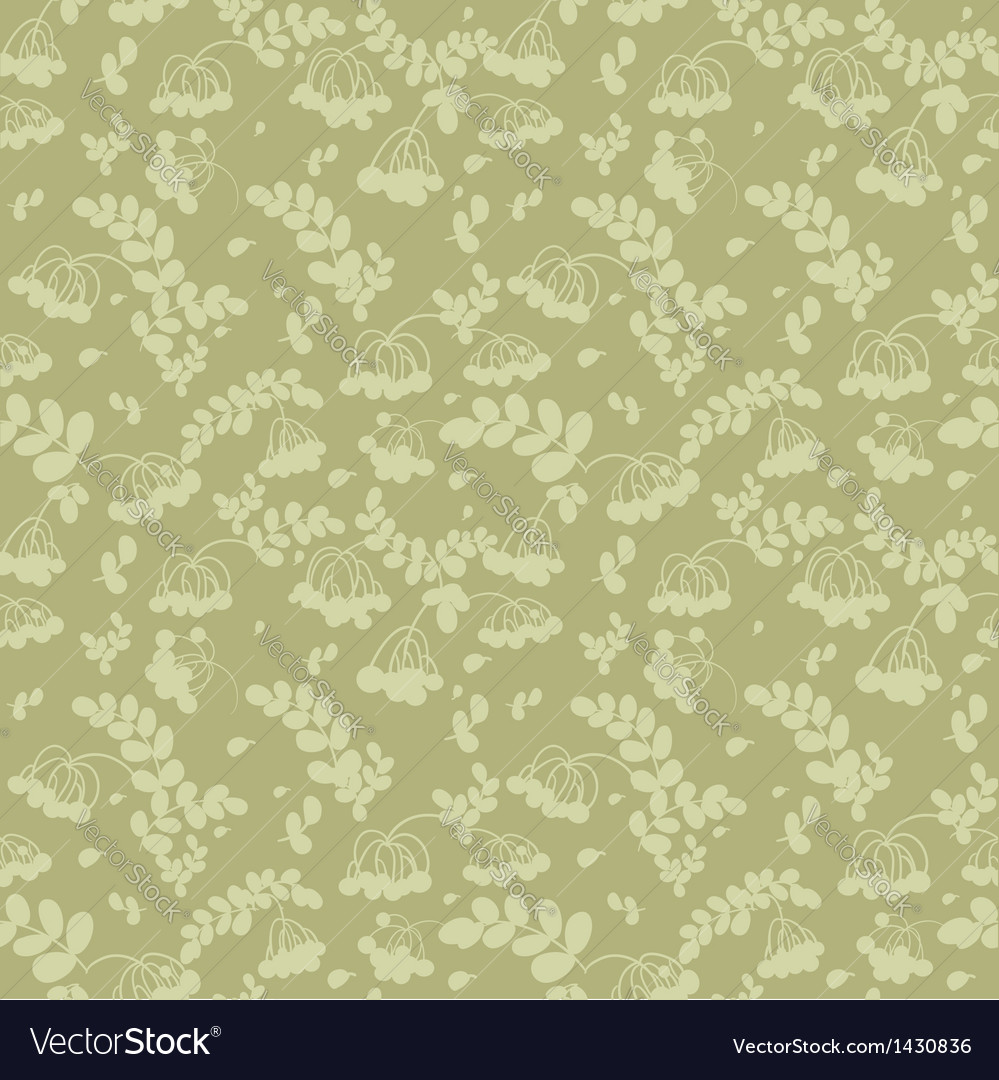 Seamless pattern of ash and twigs with leaves vector | Price: 1 Credit (USD $1)