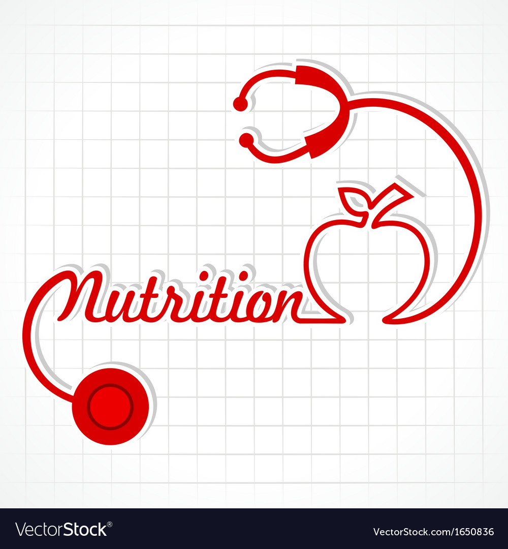Stethoscope make nutrition word and apple vector | Price: 1 Credit (USD $1)