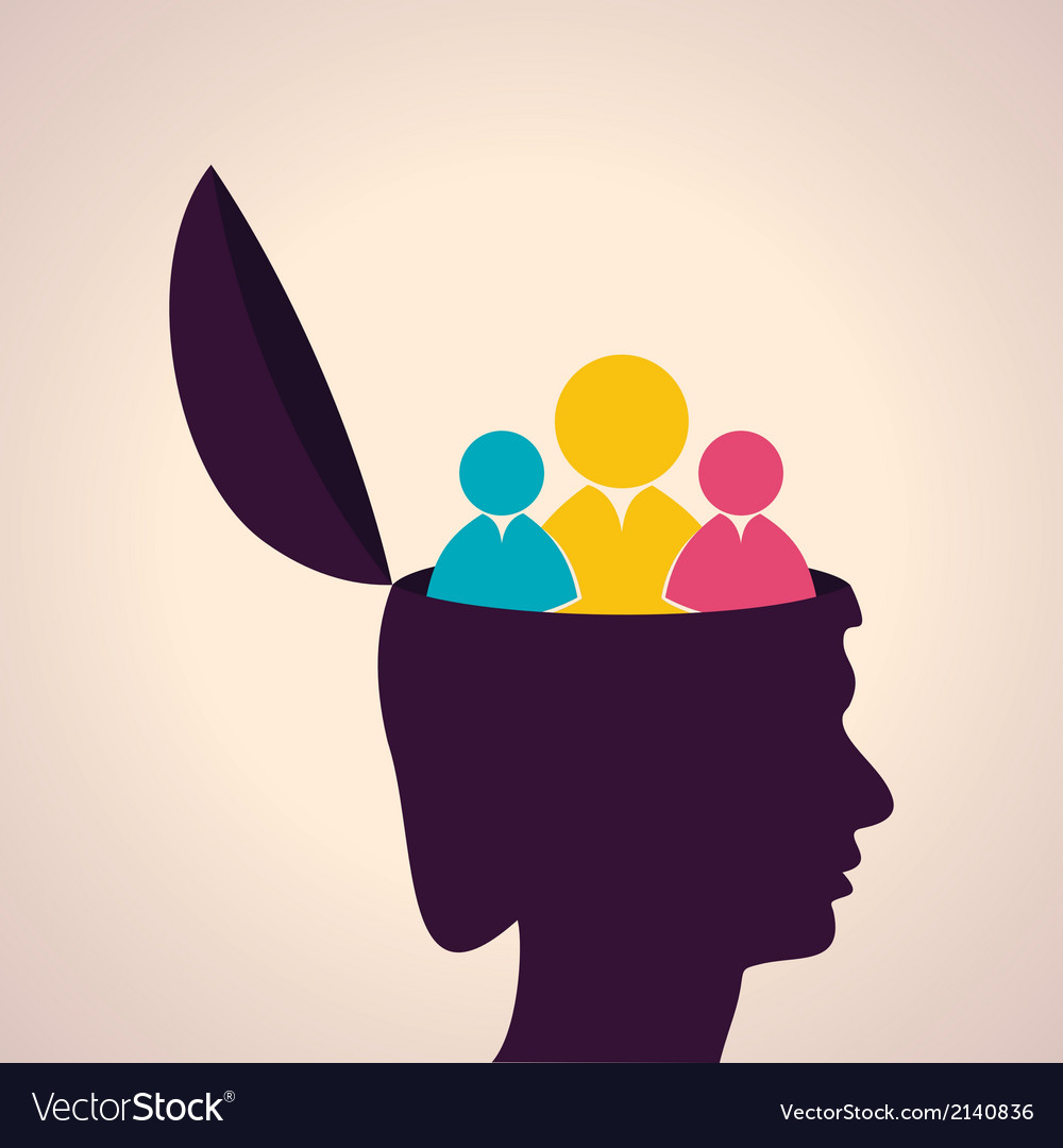 Thinking concept-human head with people icon vector | Price: 1 Credit (USD $1)