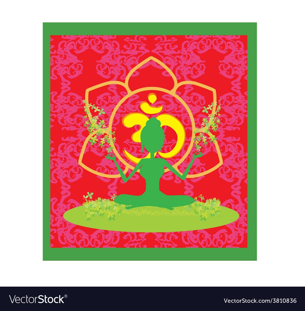 Yoga girl in lotus position vector | Price: 1 Credit (USD $1)