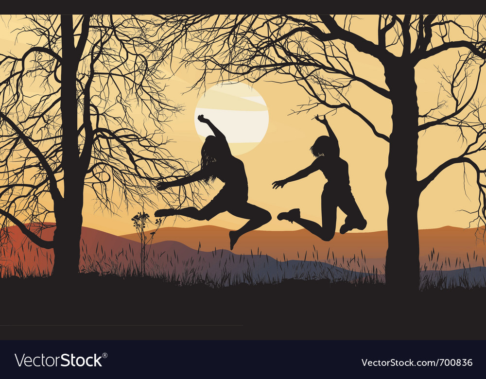 Young woman jumping vector | Price: 1 Credit (USD $1)
