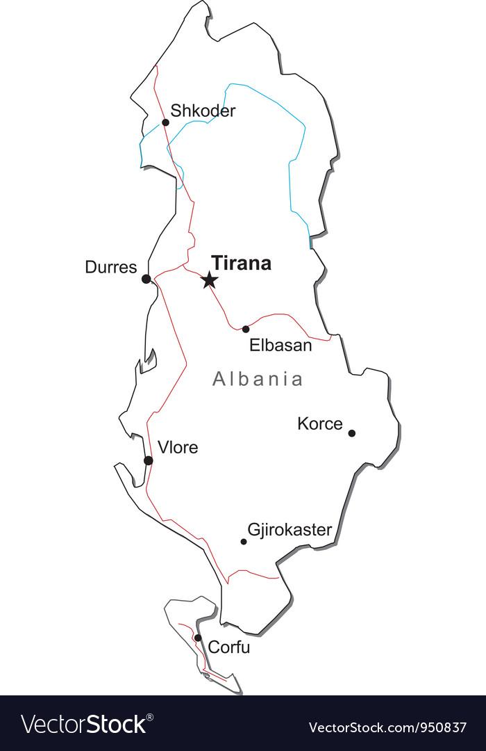 Albania black white map vector   Price: 1 Credit (USD $1)
