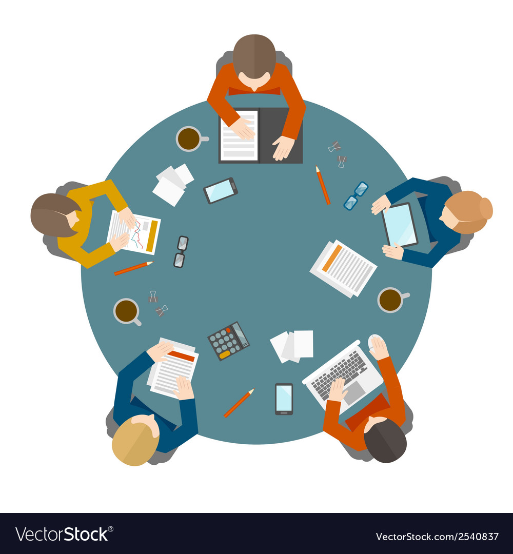 Business meeting in top view vector | Price: 1 Credit (USD $1)