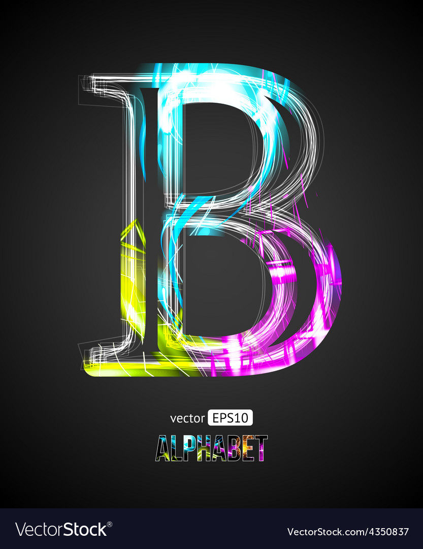 Design light effect alphabet letter b vector | Price: 1 Credit (USD $1)