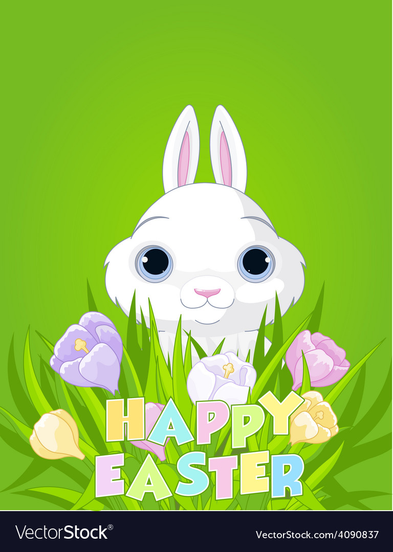 Easter bunny with crocus bouquet vector | Price: 1 Credit (USD $1)