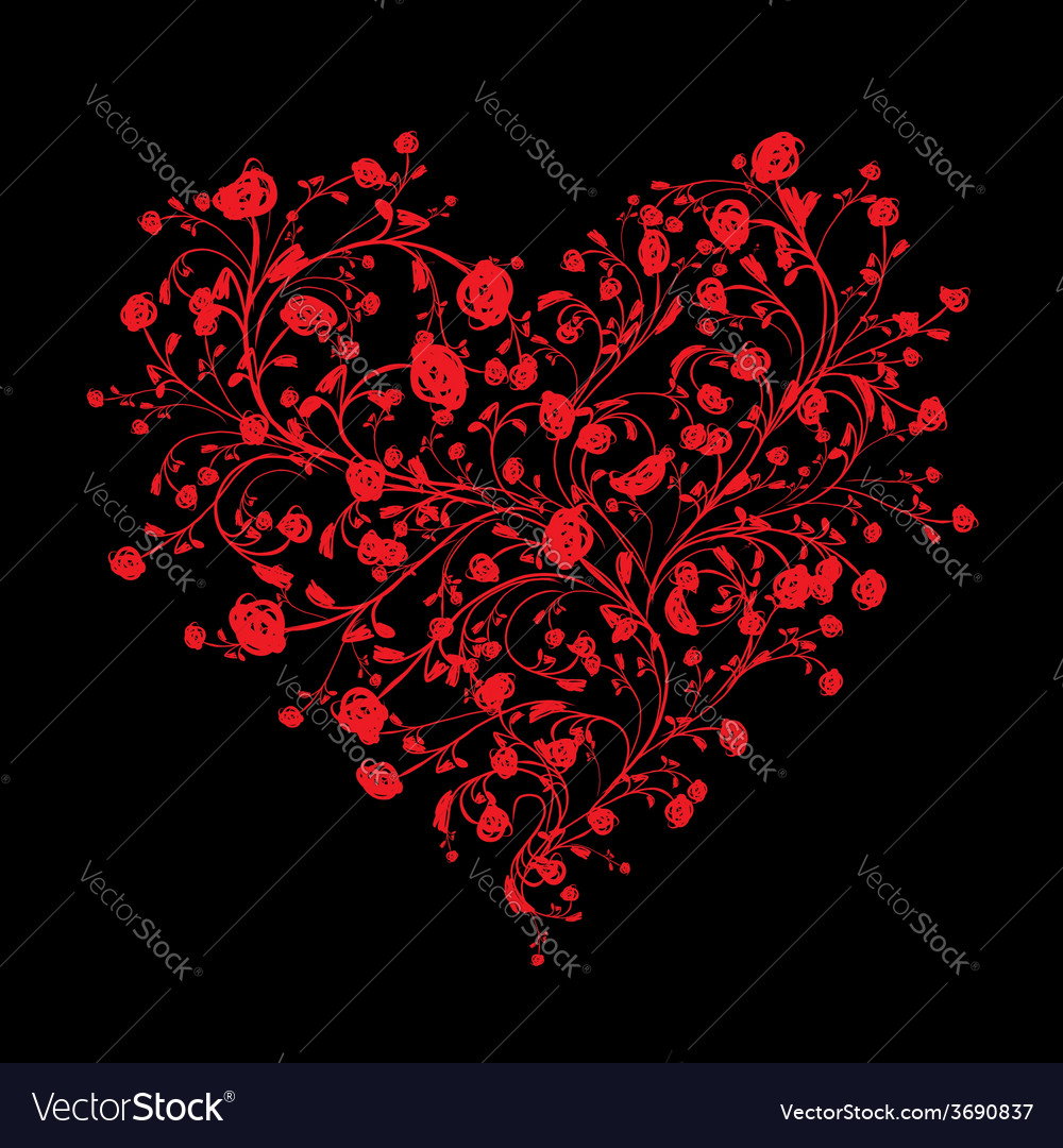 Floral love bouquet for your design heart shape vector   Price: 1 Credit (USD $1)