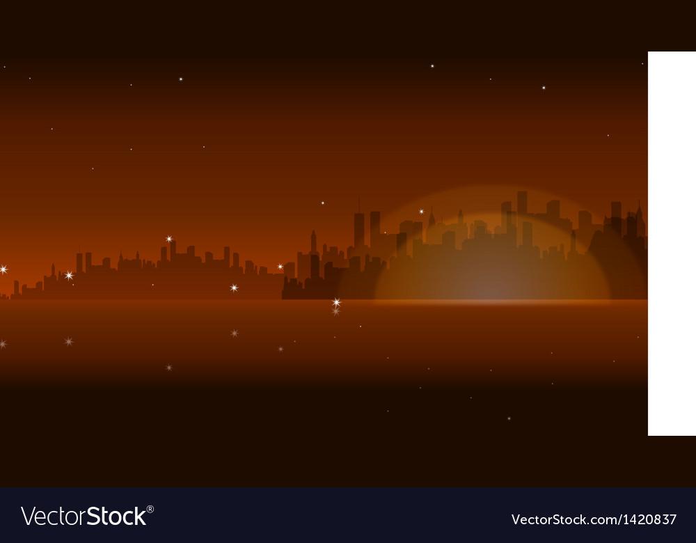 Night skyline vector | Price: 1 Credit (USD $1)