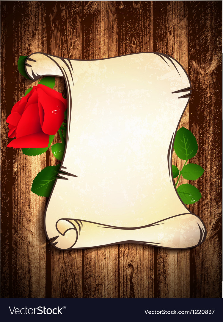 Old paper with red rose vector | Price: 1 Credit (USD $1)