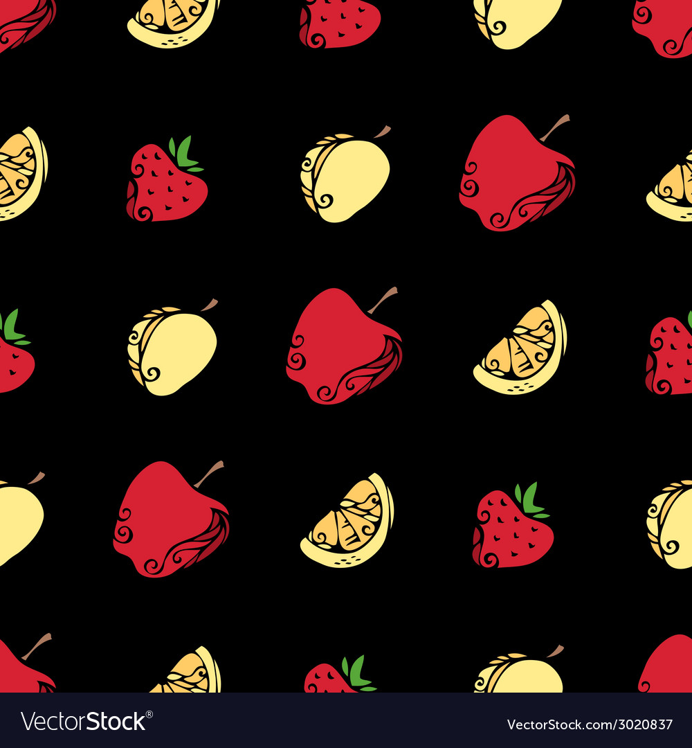 Seamless pattern of fruits and berries on black vector | Price: 1 Credit (USD $1)