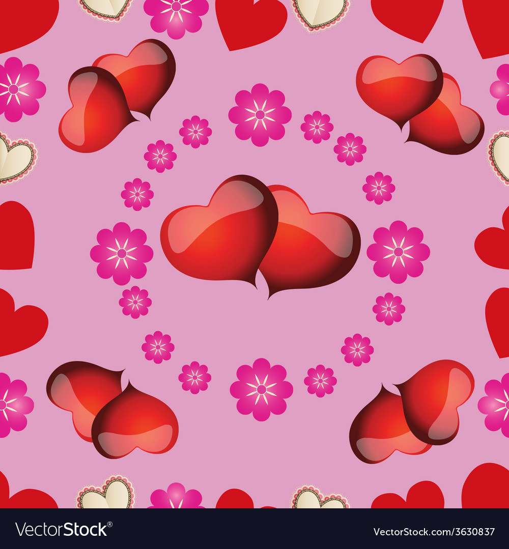 Seamless pattern with pink hearts for valentines d vector | Price: 1 Credit (USD $1)