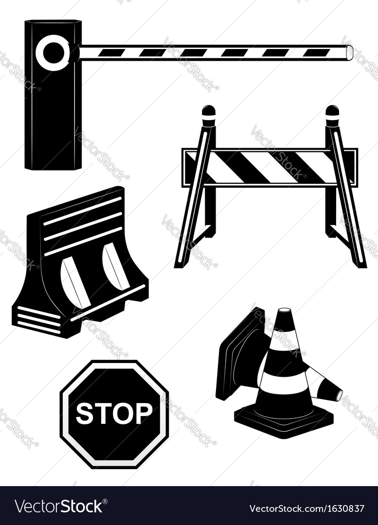 Set icoms road barrier black and white vector | Price: 1 Credit (USD $1)