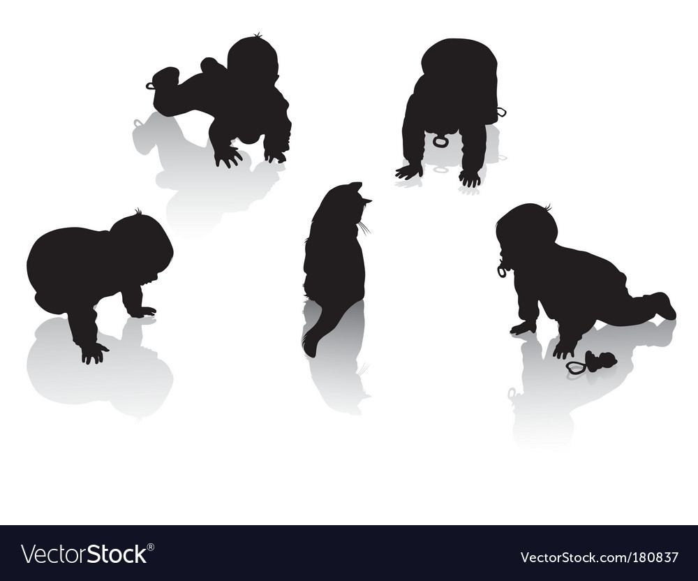 Silhouettes of childhood vector | Price: 1 Credit (USD $1)