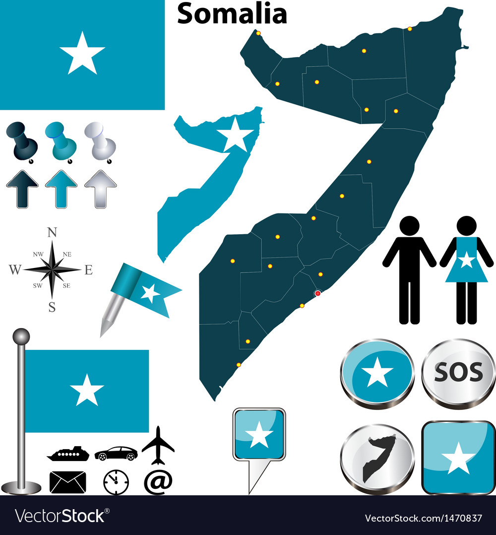 Somalia map vector | Price: 1 Credit (USD $1)