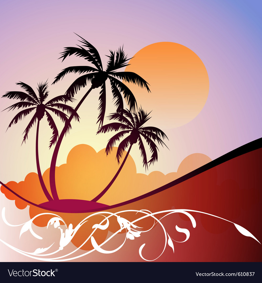 Tropical landscape vector | Price: 1 Credit (USD $1)