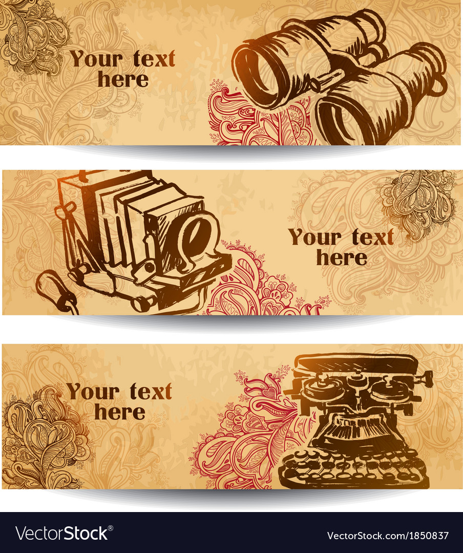 Vintage banners drawn by hand vector | Price: 1 Credit (USD $1)