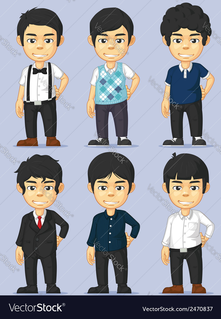 Young man character set vector | Price: 1 Credit (USD $1)