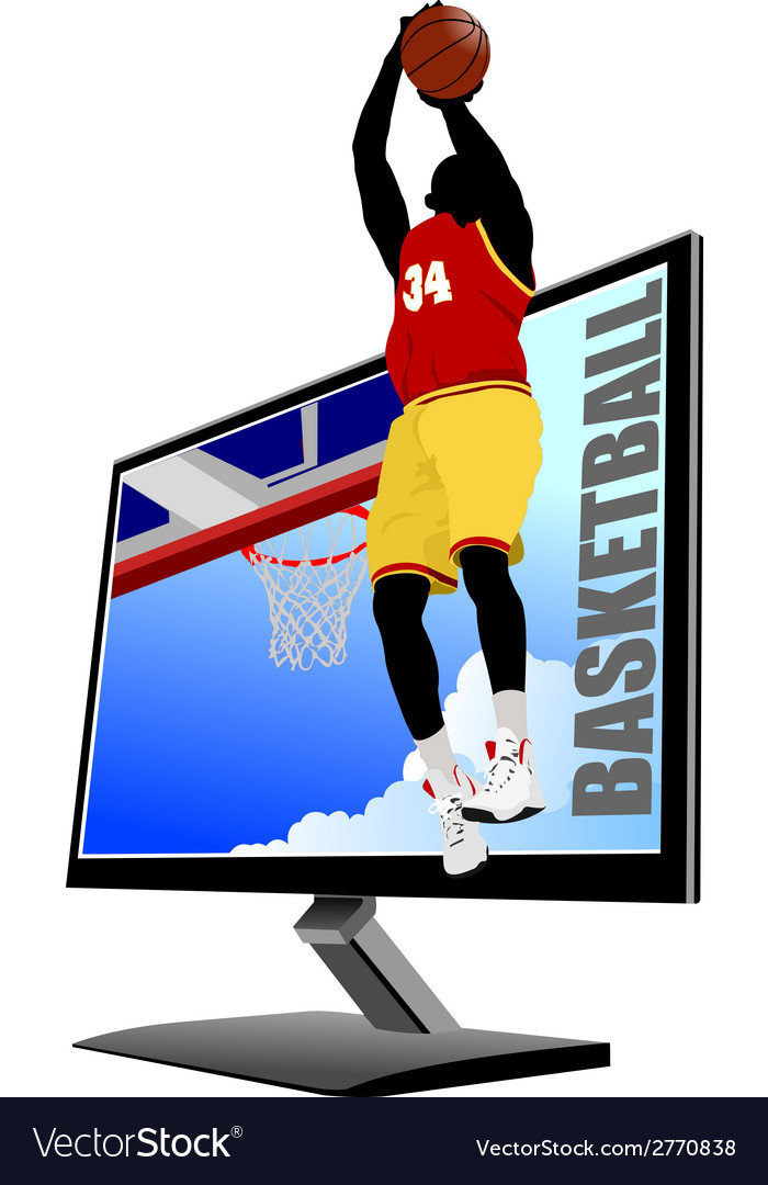 Al 0839 monitor and basketball vector | Price: 1 Credit (USD $1)