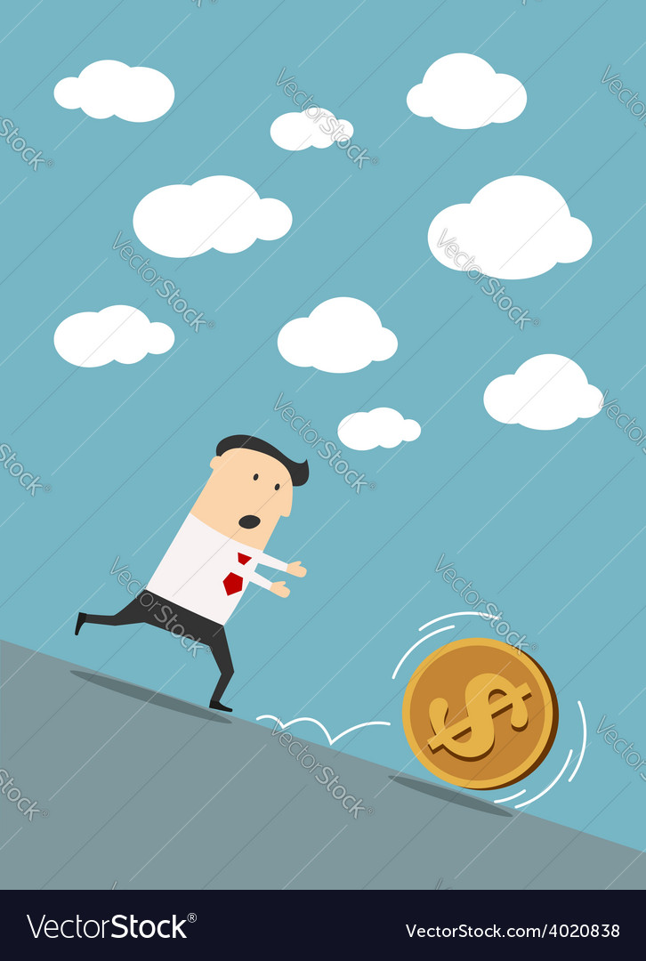 Businessman chasing dollar coin in cartoon style vector | Price: 1 Credit (USD $1)