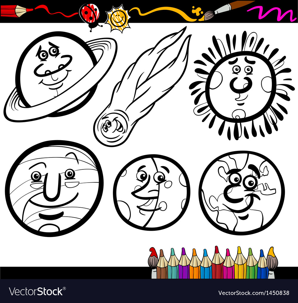 Cartoon planets and orbs coloring page vector   Price: 1 Credit (USD $1)