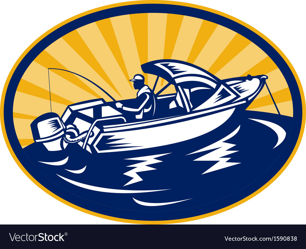 Fisherman with fishing rod on boat vector | Price: 1 Credit (USD $1)