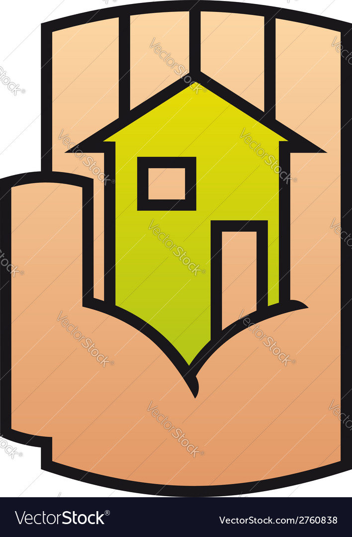 Home icon protected in a stylized hand vector | Price: 1 Credit (USD $1)