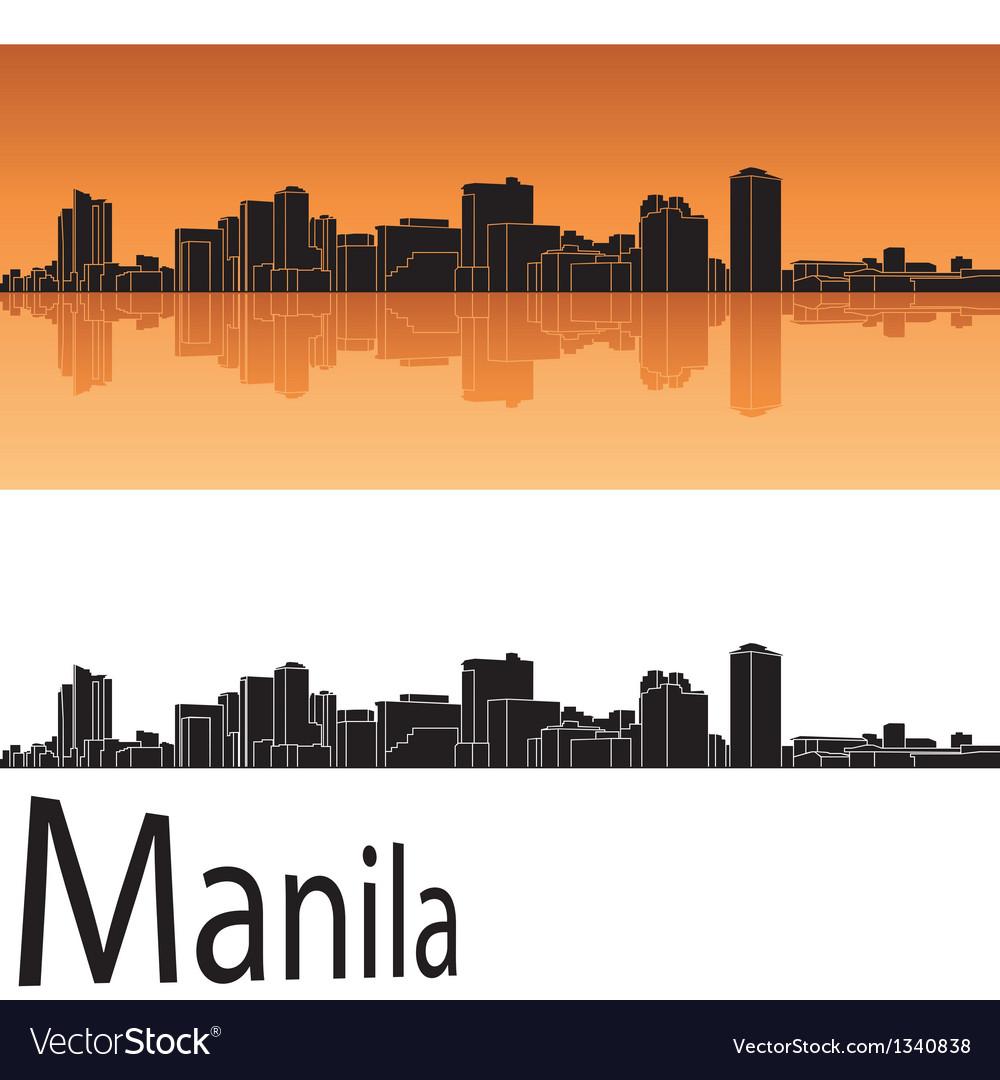 Manila skyline in orange background vector | Price: 1 Credit (USD $1)