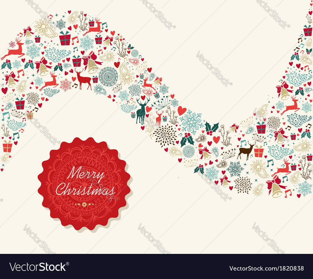 Merry christmas vintage elements vector | Price: 1 Credit (USD $1)