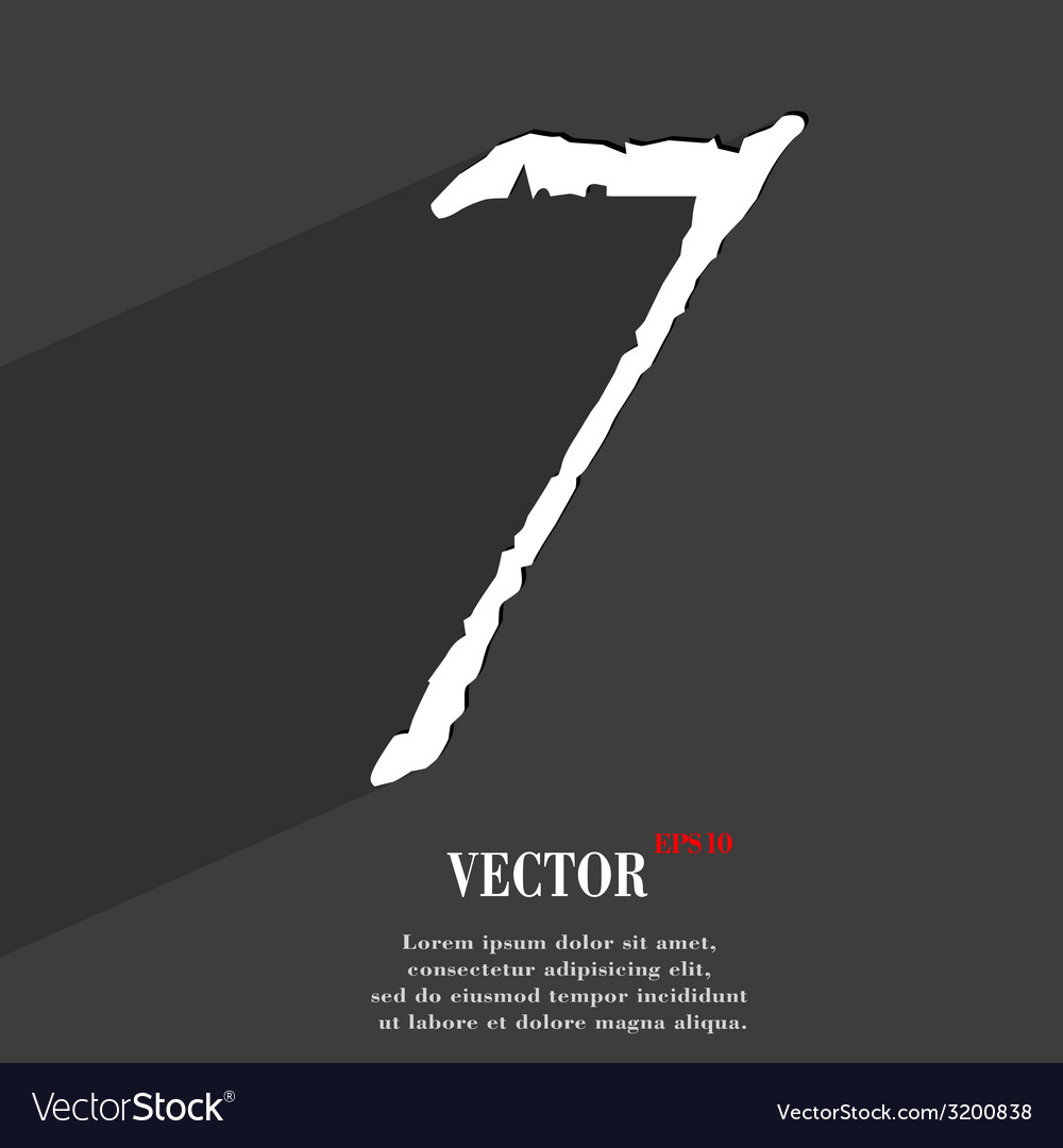 Number seven icon symbol flat modern web design vector | Price: 1 Credit (USD $1)