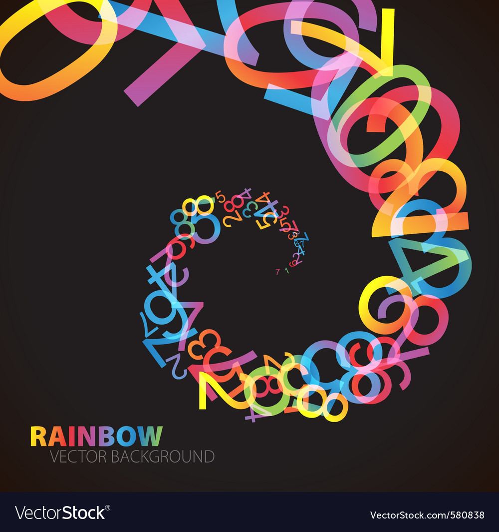 Rainbow number background vector   Price: 1 Credit (USD $1)