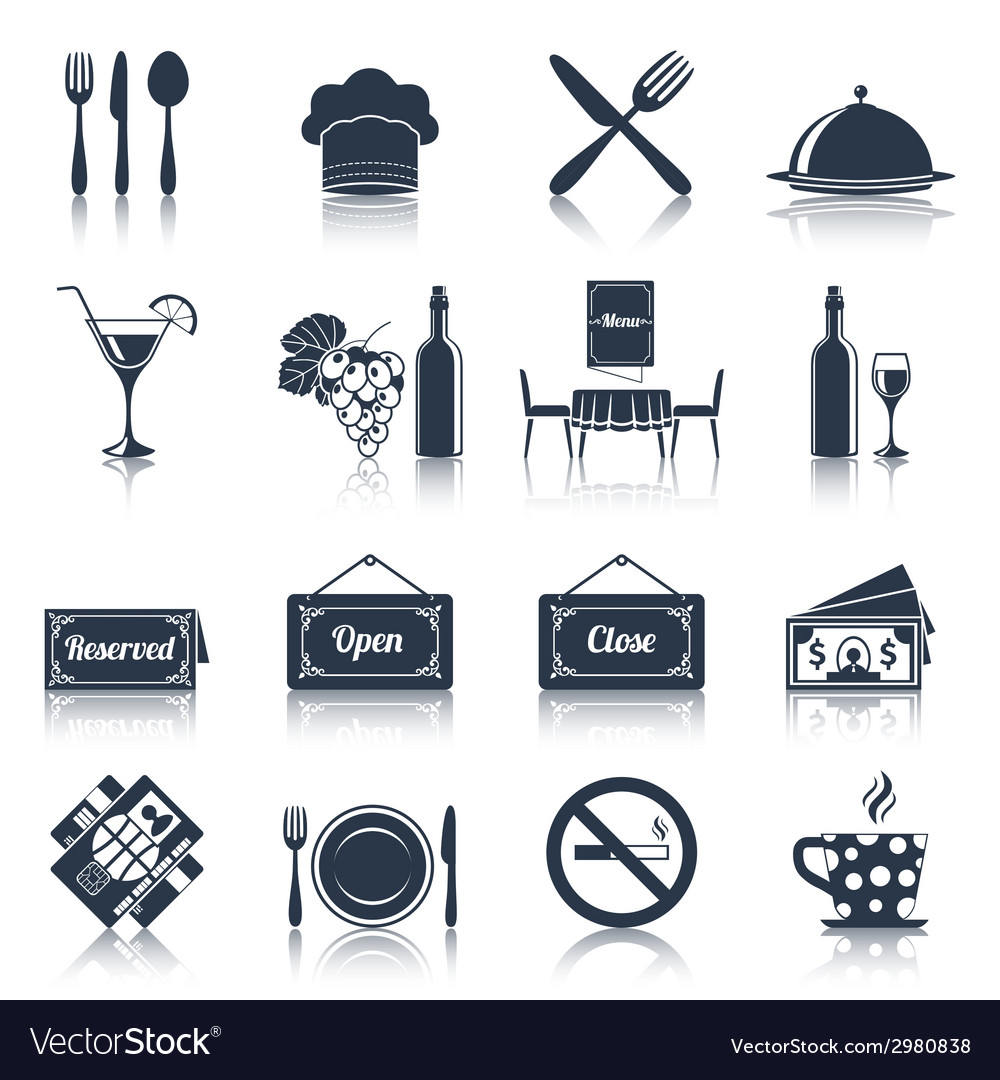 Restaurant icons set black vector | Price: 1 Credit (USD $1)