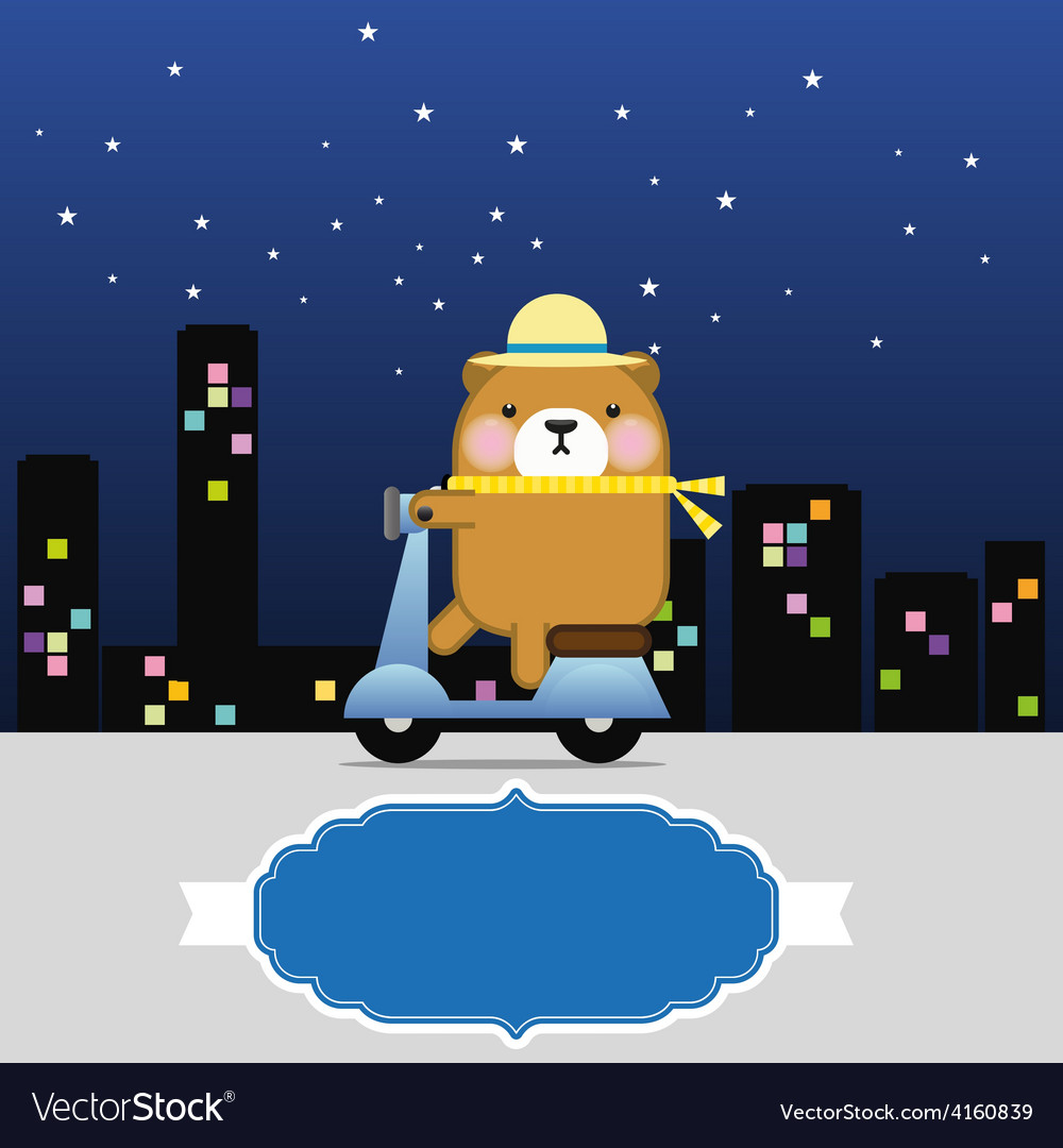 Bear riding a motorbike with frame for text vector | Price: 1 Credit (USD $1)
