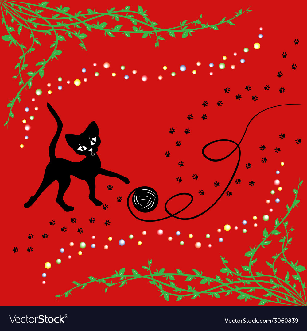 Black cat playing with ball of yarn vector | Price: 1 Credit (USD $1)