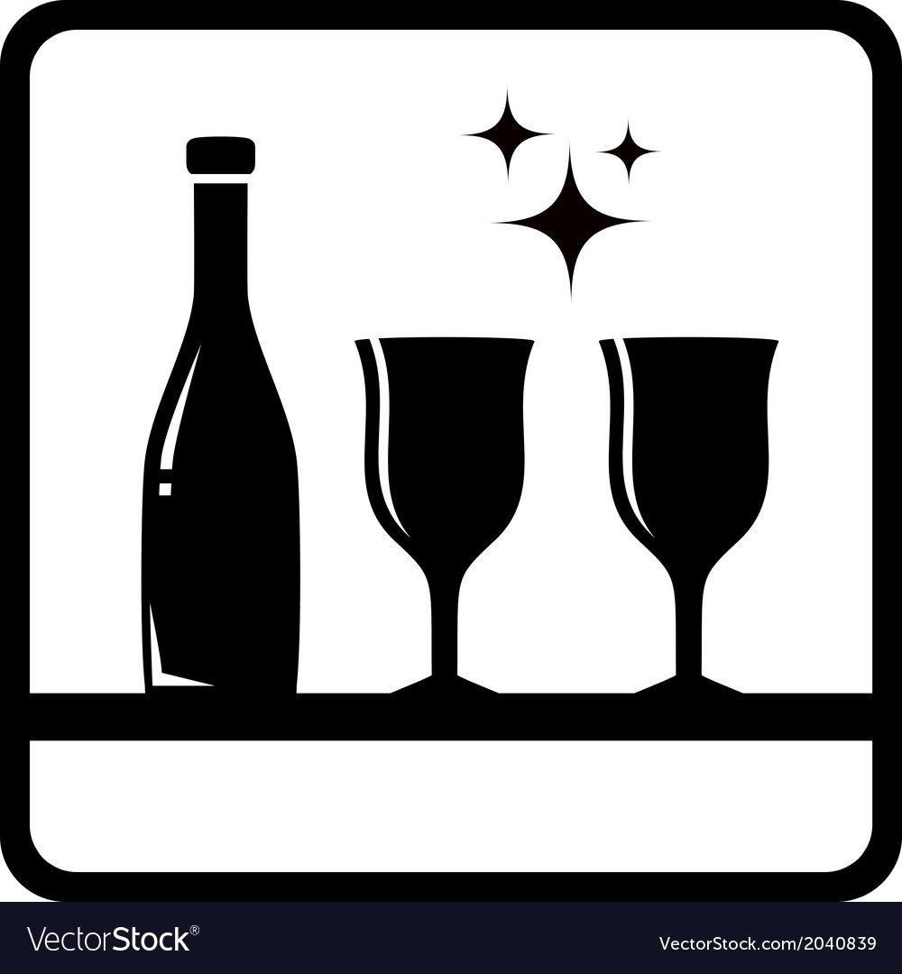 Bottle and wine glass silhouette vector | Price: 1 Credit (USD $1)