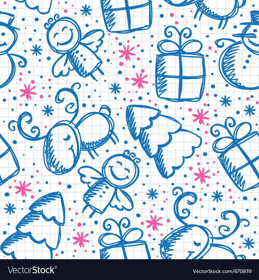 Christmas hand drawn seamless pattern vector | Price: 1 Credit (USD $1)